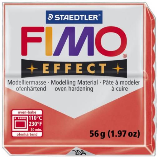Fimo Effect - 56 gram - Röd transparent 204